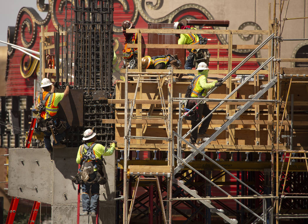Construction continues on Circa Resort and Casino on Fremont Street in Las Vegas, Monday, June ...