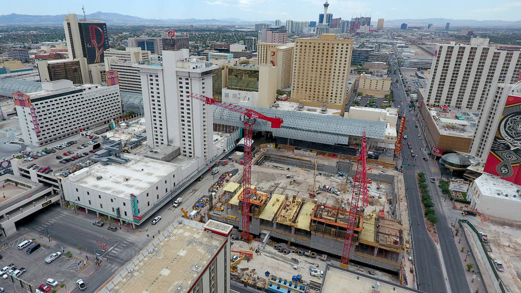 Aerial view of the Circa hotel casino construction site on the edge of the Fremont Street Exper ...