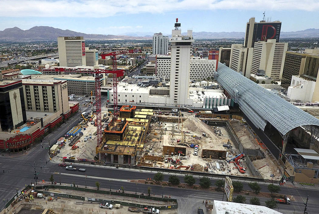 The Circa construction site is seen on the edge of the Fremont Street Experience in downtown La ...