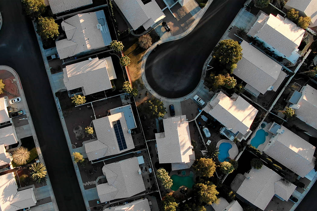 Aerial view of homes near Raton Drive and Mescalero Trail in Henderson, Nevada on Saturday, Feb ...