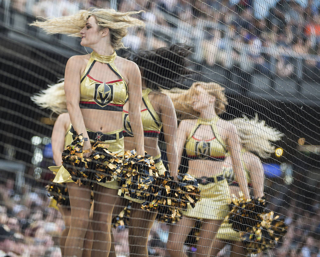 The Golden Aces cheer for the Golden Knights during the Battle For Vegas Charity Softball Game ...