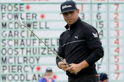 Gary Woodland watches his putt on the sixth hole during the second round of the U.S. Open Champ ...