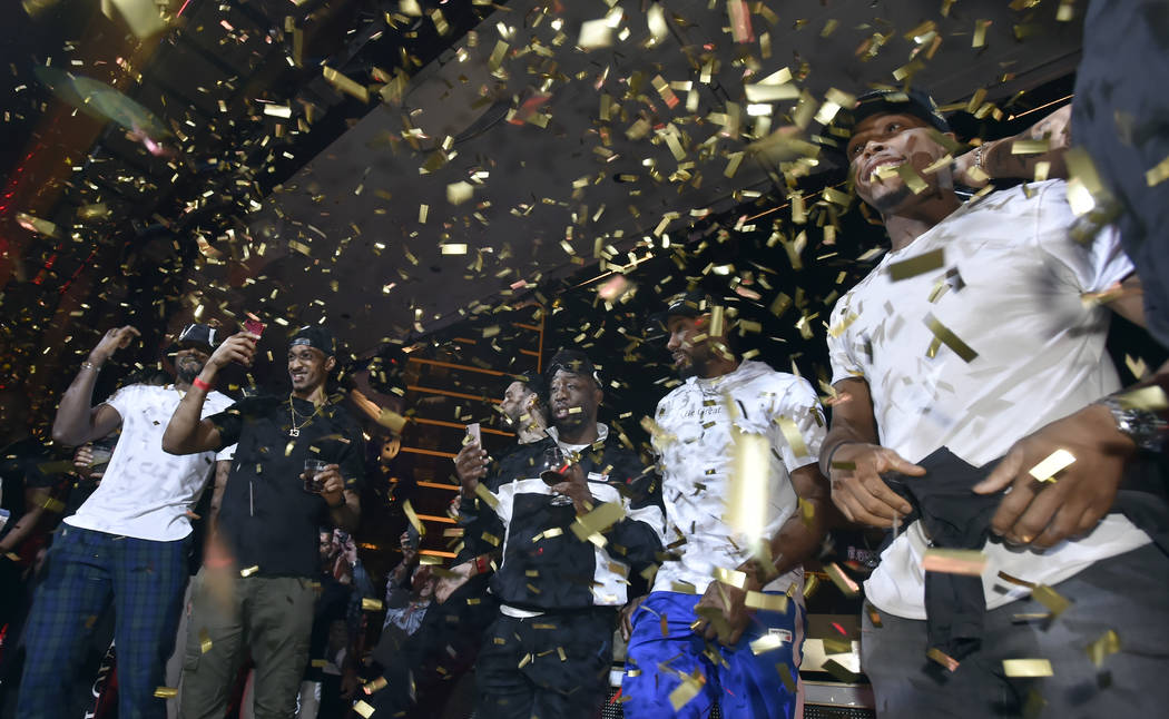 LAS VEGAS, NEVADA - JUNE 14: The Toronto Raptors celebrate their NBA championship at XS Nightcl ...