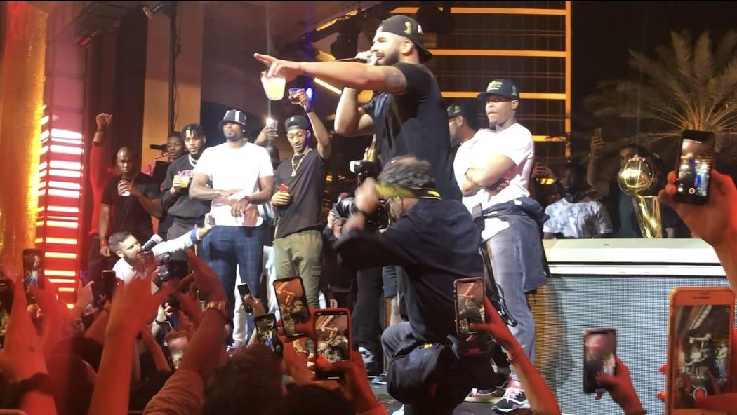 Rap superstar Drake toasts the NBA champion Toronto Raptors at XS Nightclub at Wynn Las Vegas o ...