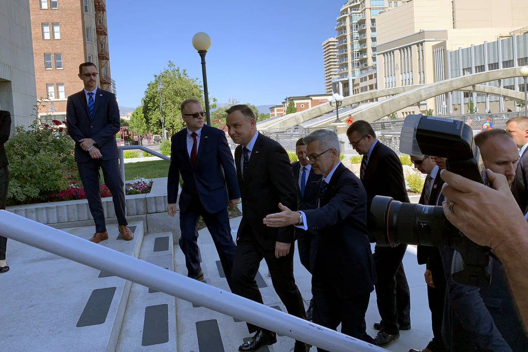 President Andrzej Duda of Poland arrives with his delegation at the Old Post Office in Reno Sat ...