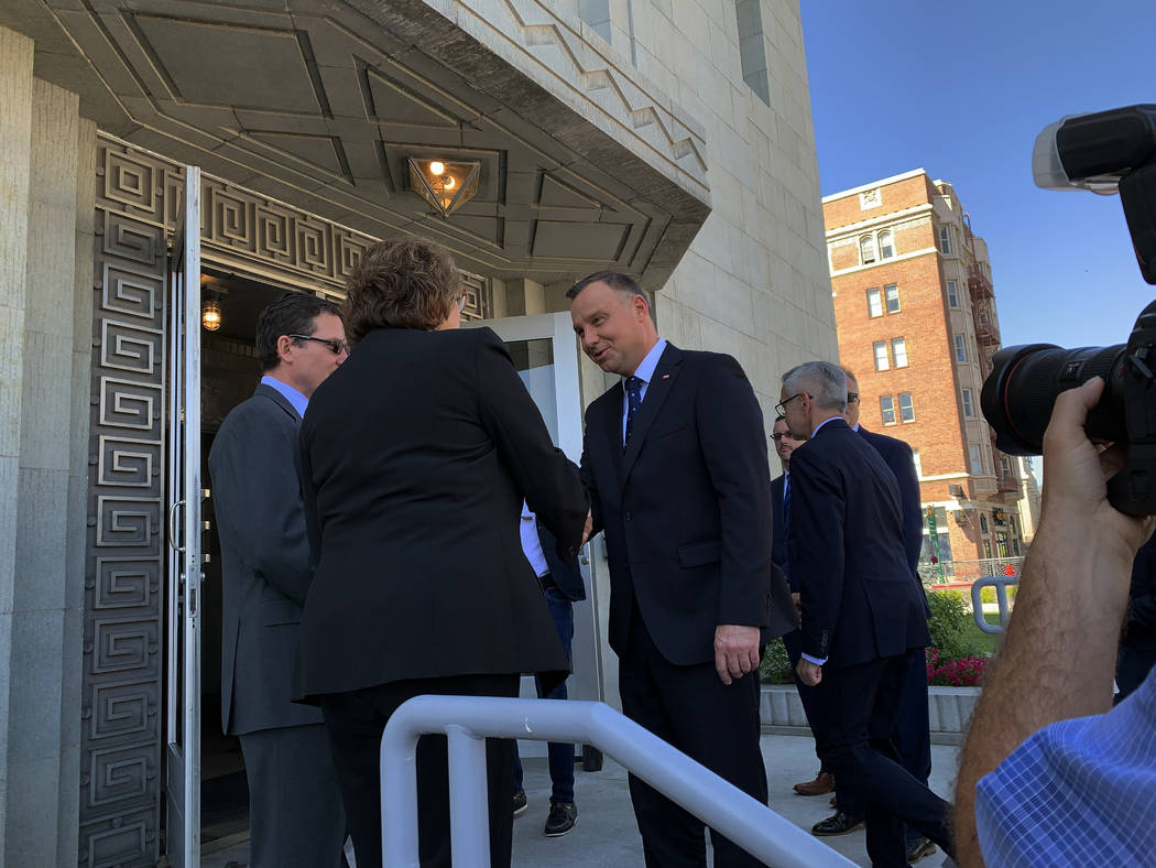 President of Poland Andrzej Duda is greeted by Reno Vice mayor Naomi Duerr as he arrives at the ...