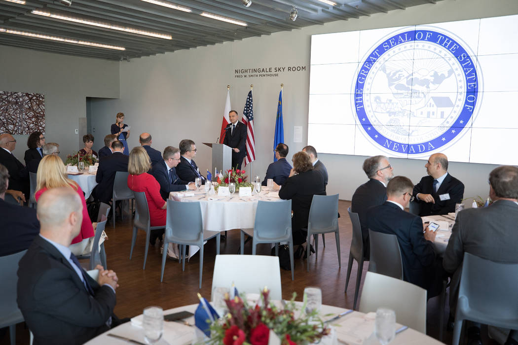 President Duda makes remarks at a luncheon at the Nevada Museum of Art, where new cooperation a ...