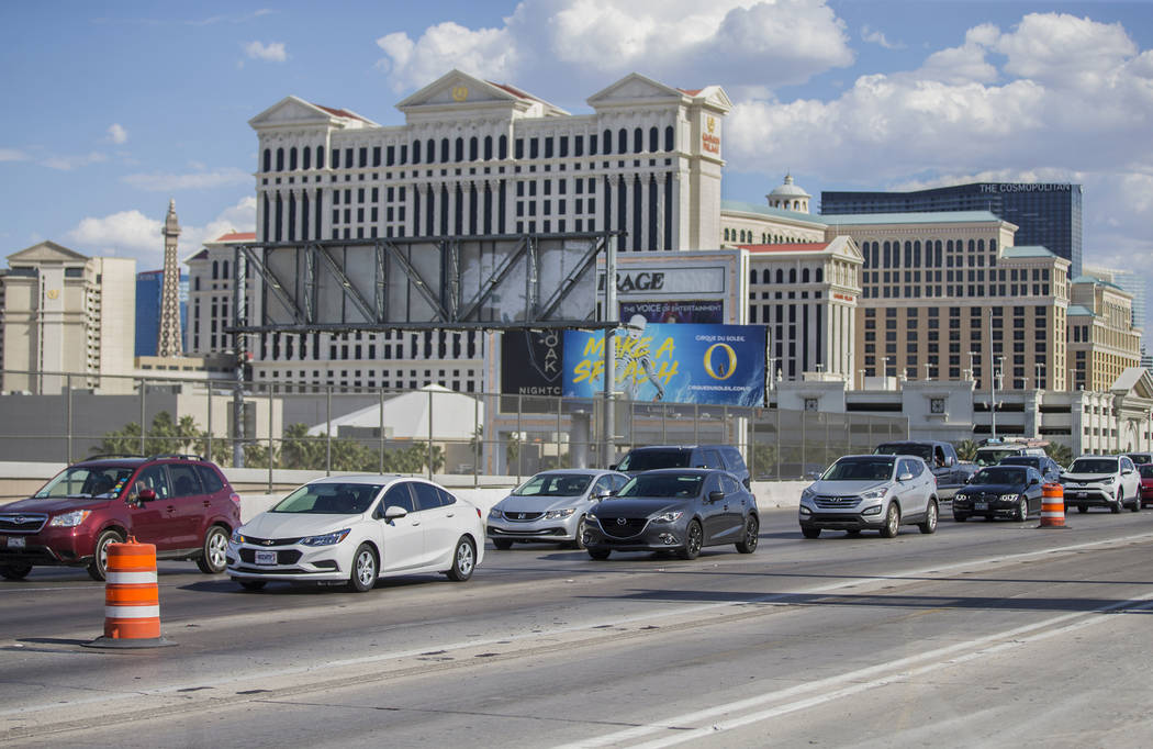 Traffic on Interstate 15 northbound is backed up due to a scheduled closure by the Nevada Depar ...