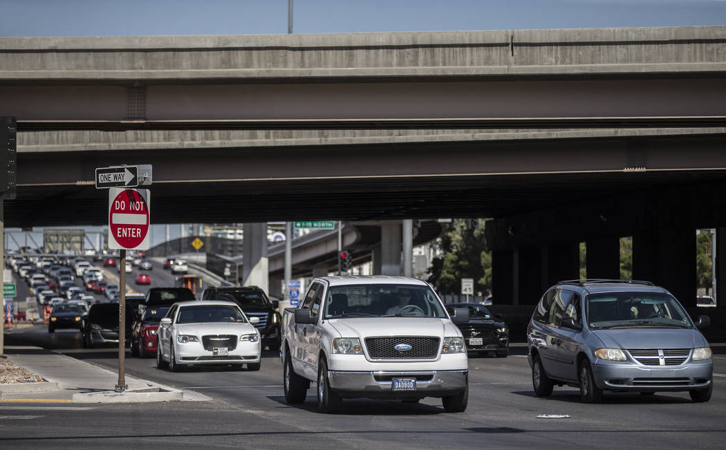 Traffic takes the Sahara Avenue detour off the Interstate 15 northbound due to a scheduled clos ...