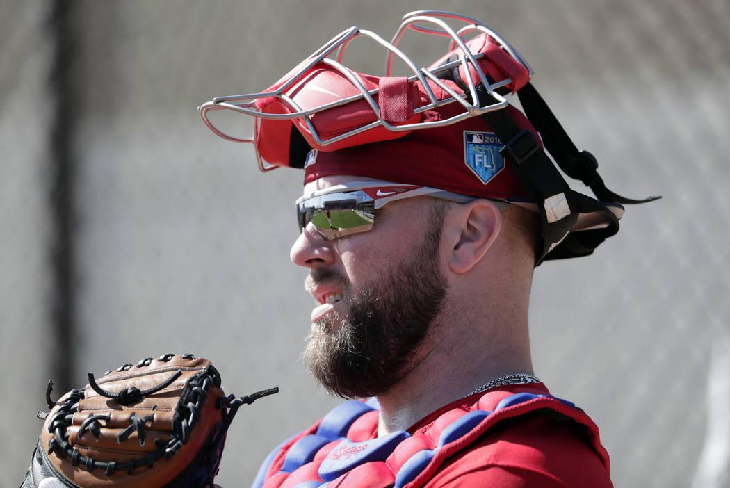 Philadelphia Phillies catcher Cameron Rupp works in the bullpen at baseball spring training cam ...