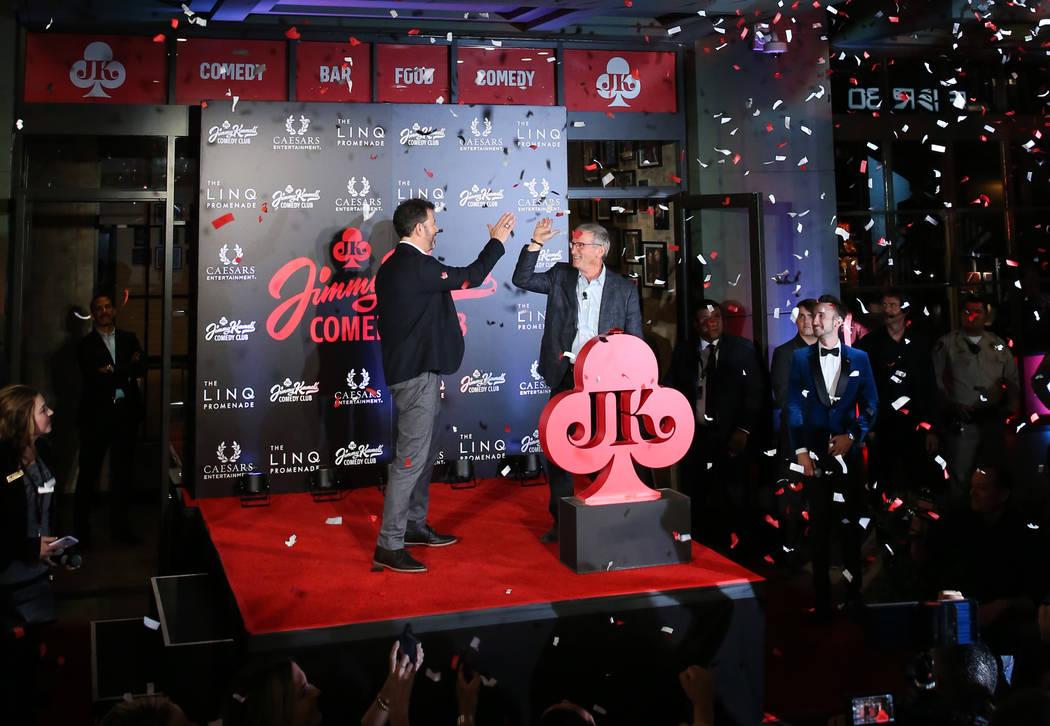 Emmy Award-winning TV host, Jimmy Kimmel, left, and Tony Rodio, right, CEO of Caesars Entertain ...