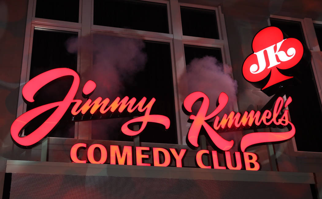 Jimmy Kimmel's Comedy Club sign ups seen after the grand opening at the Linq on Friday, ...