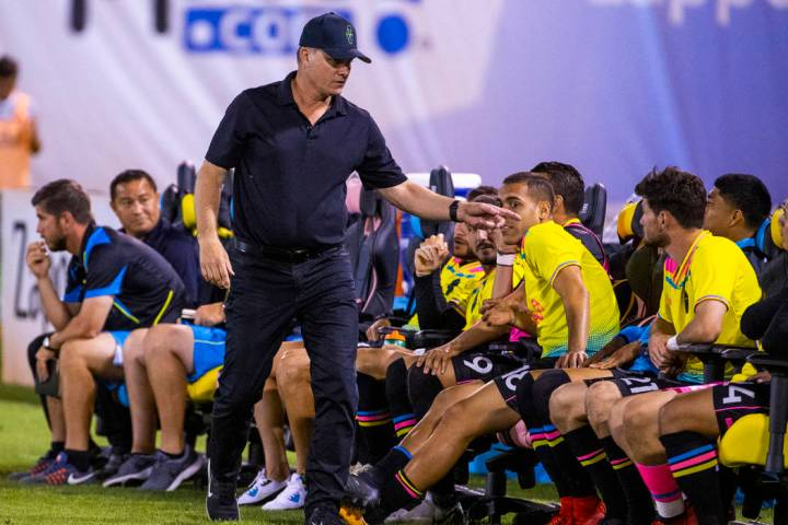Las Vegas Lights FC head coach Eric Wynalda has a few words for a player on the bench during th ...