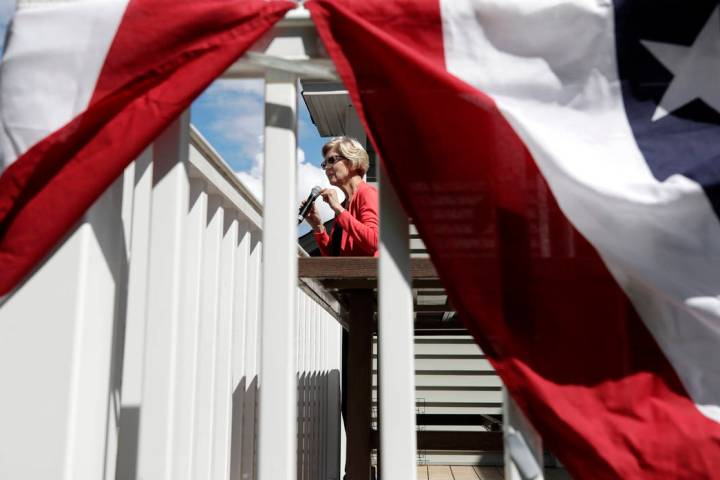 Democratic presidential candidate Sen. Elizabeth Warren, D-Mass., speaks at a campaign house pa ...