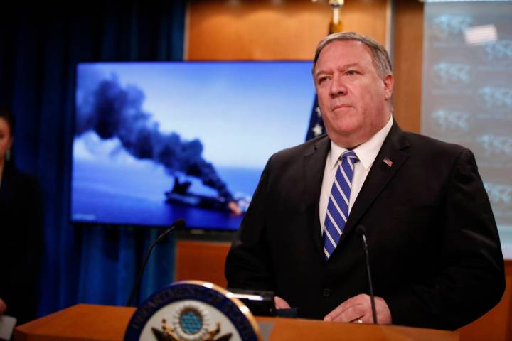 Secretary of State Mike Pompeo speaks during a media availability at the State Department, Thur ...