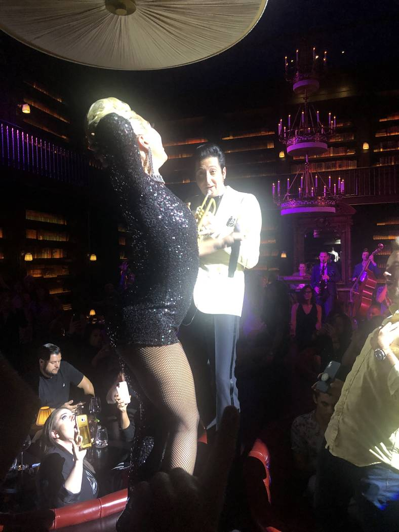 "Lady Gaga and Brian Newman perform at Newman's ""After Dark"" show at NoMad Restaurant on Saturda ..."