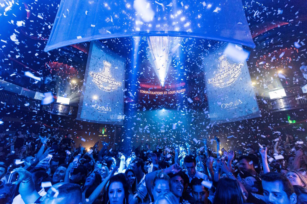 Omnia Nightclub at Caesars Palace takes on a blue hue during the team's victory party at Omnia ...