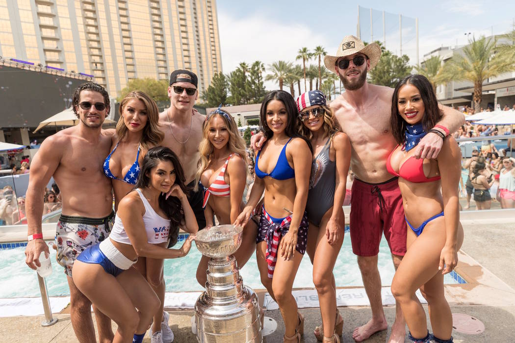 Members of the the St. Louis Blues party with the Stanley Cup at Wet Republic at MGM Grand on S ...