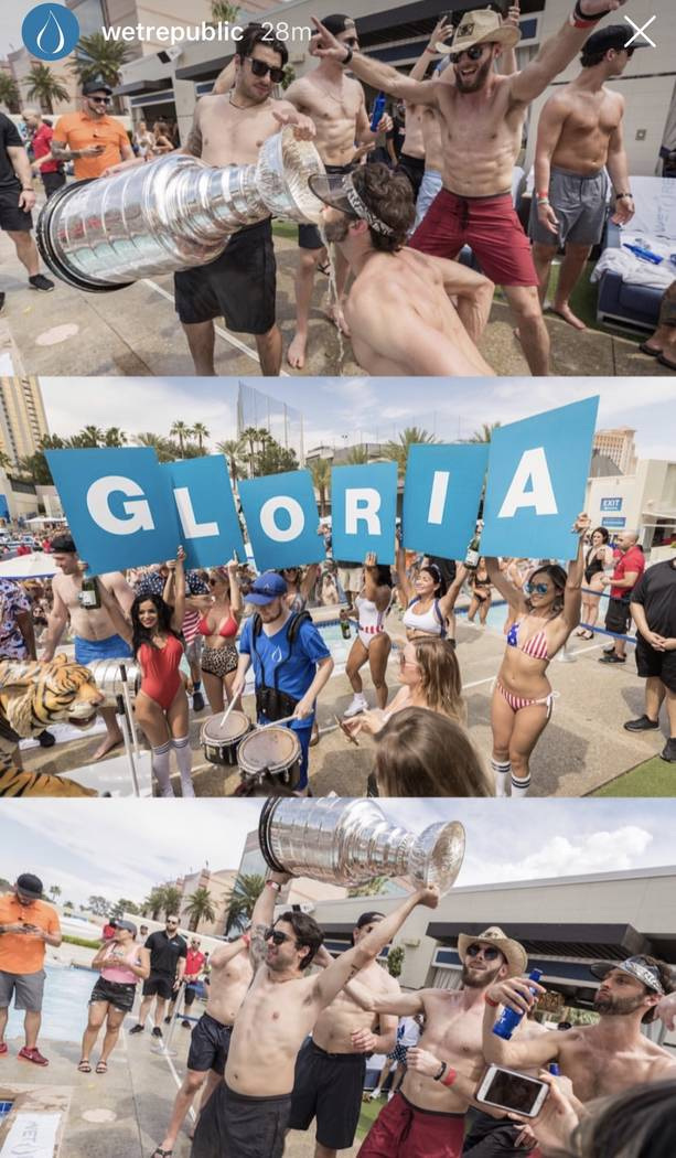Members of the St. Louis Blues are shown with the Stanley Cup at Wet Republic at MGM Grand on S ...