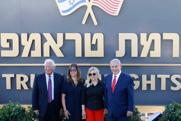 Israeli Prime Minister Benjamin Netanyahu, right, his wife Sara, United States Ambassador to Is ...