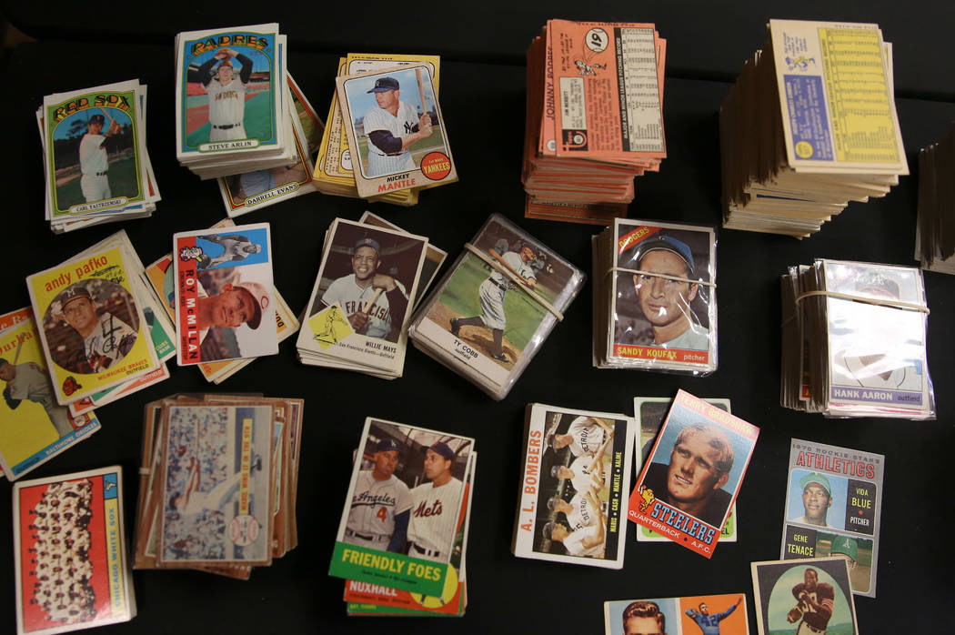 Valuable sport cards, purchased by Brian Marcy, owner of Scottsdale Baseball Cards, are display ...