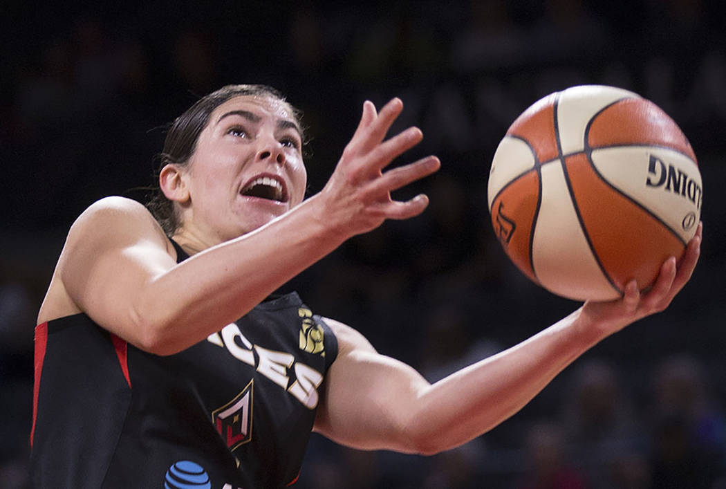 Las Vegas Aces guard Kelsey Plum goes to the rim against the New York Liberty on Friday, June 1 ...