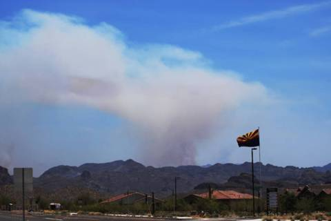 A photo from the Facebook page of the Tonto National Forest shows smoke coming Sunday, June 16, ...