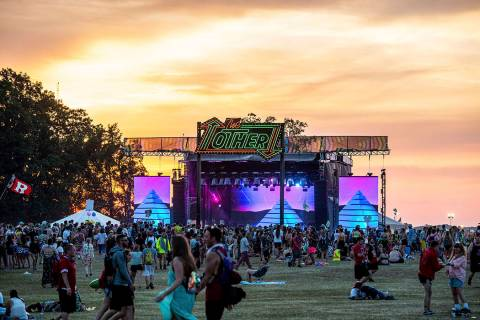 Festival goers attend the Bonnaroo Music and Arts Festival on Saturday, June 15, 2019, in Manch ...