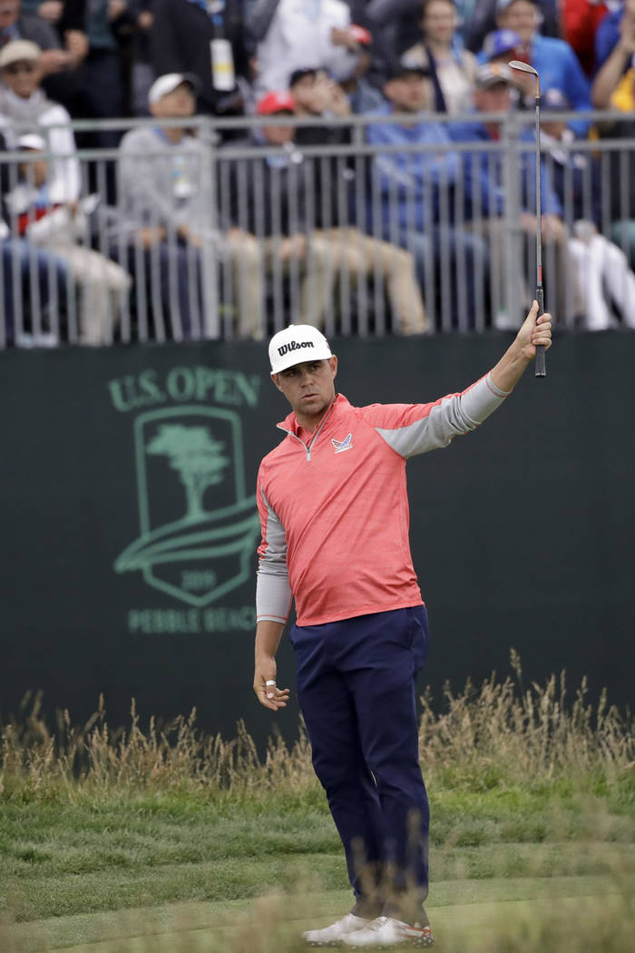 Gary Woodland reacts to his chip off the 17th green during the final round of the U.S. Open Cha ...