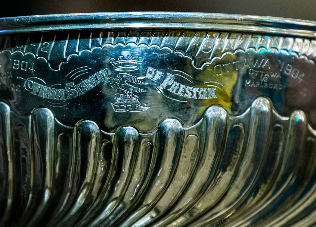 Inscription on the Stanley Cup referencing it being named in 1892 after Lord Stanley of Preston ...