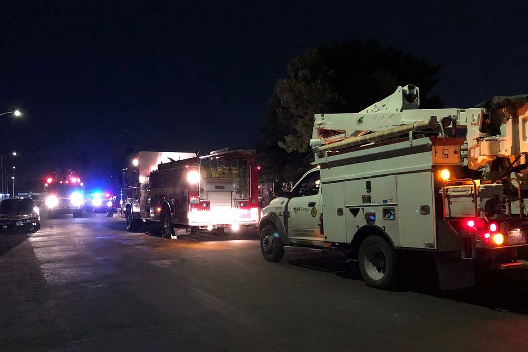 Seven people were displaced by a fire at two two east Las Vegas Valley residences on the 2000 b ...