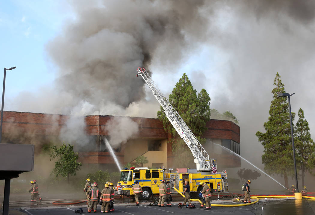 Clark County Fire Department and Las Vegas Fire crews battle blaze at The Park at 3900 at 3900 ...
