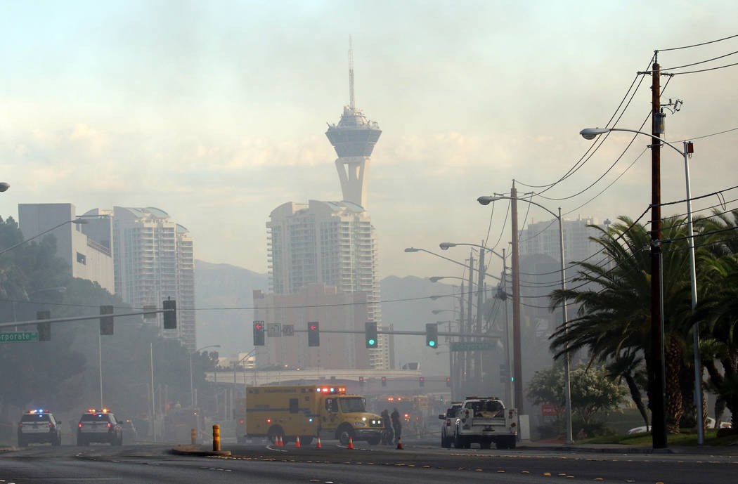 Southbound Paradise is closed between Flamingo Road and Twain Avenue as Clark County and Las Ve ...