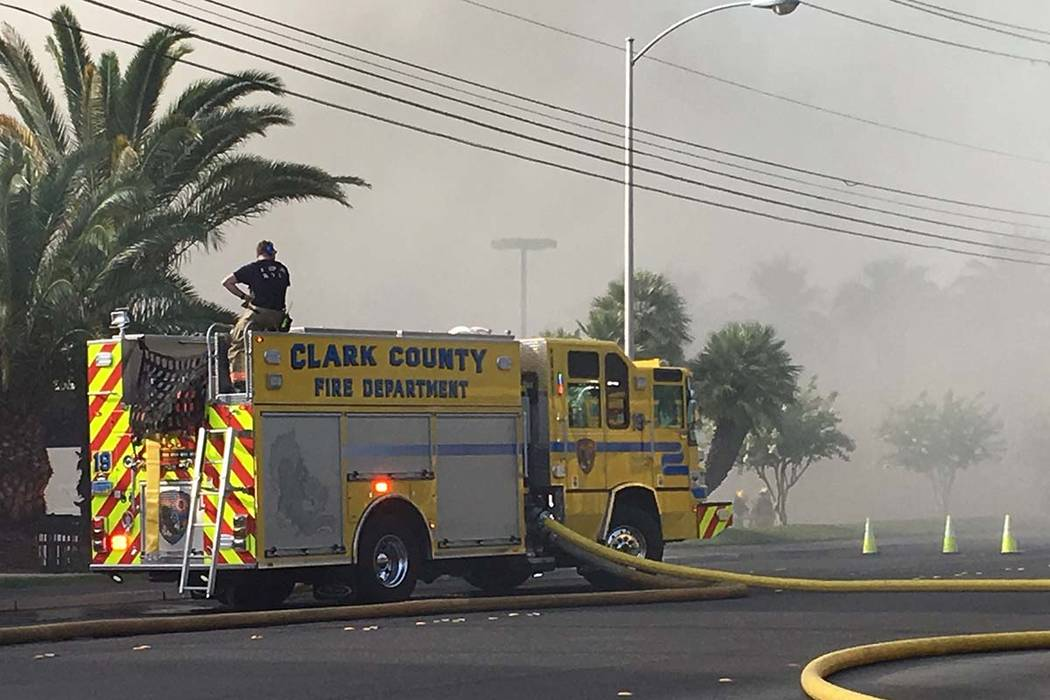 The Clark County Fire Department is battling a fire at at business complex near Paradise Road a ...