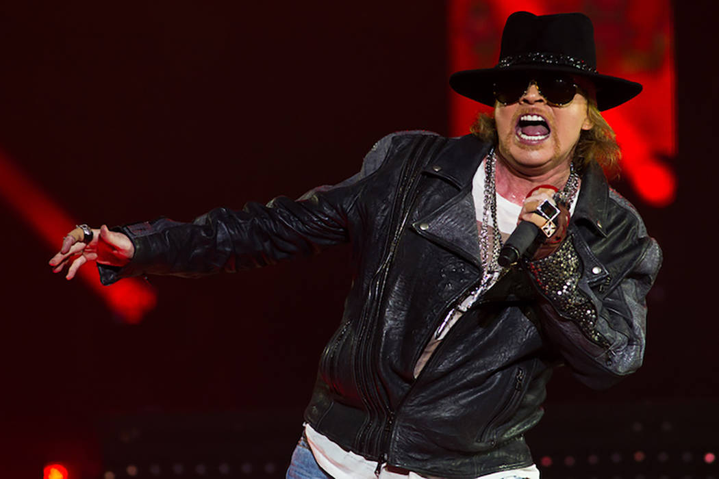 Guns N' Roses frontman Axl Rose performs with the band at The Joint at The Hard Rock Hotel in L ...