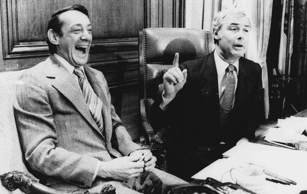 FILE - In this April 1977 file photo, San Francisco Supervisor Harvey Milk, left, and Mayor Geo ...