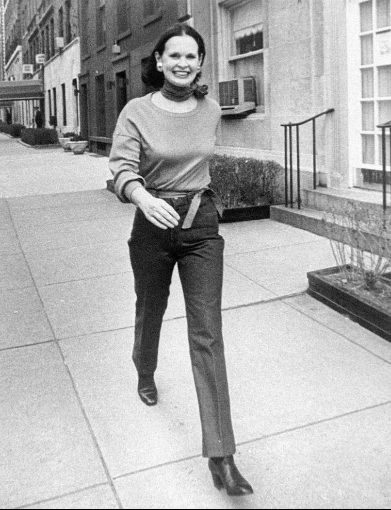 FILE- In this undated file photo heiress and designer Gloria Vanderbilt walks down a New York s ...