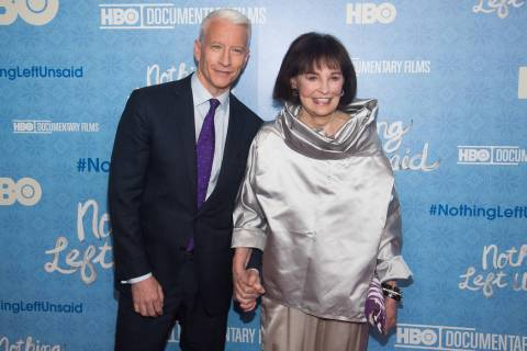 "Anderson Cooper and his mother Gloria Vanderbilt attend the premiere of ""Nothing Left Unsaid"" a ..."