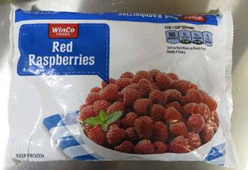 A package of frozen red raspberries recalled by WinCo. (FDA)