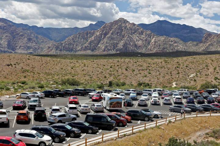 The parking lot for the Sandstone Quarry overlook along the scenic route of Red Rock Canyon Nat ...