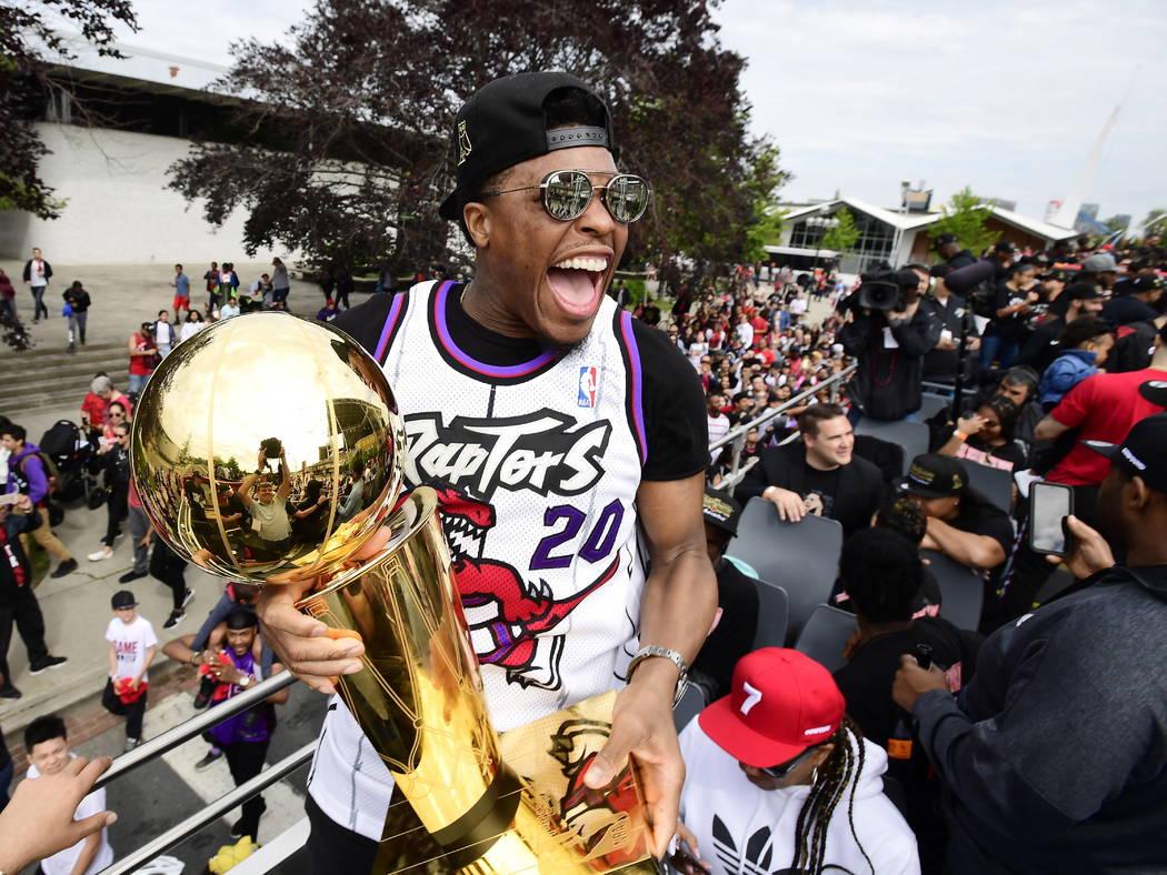 Toronto Raptors guard Kyle Lowry celebrates during the 2019 Toronto Raptors NBA basketball cham ...