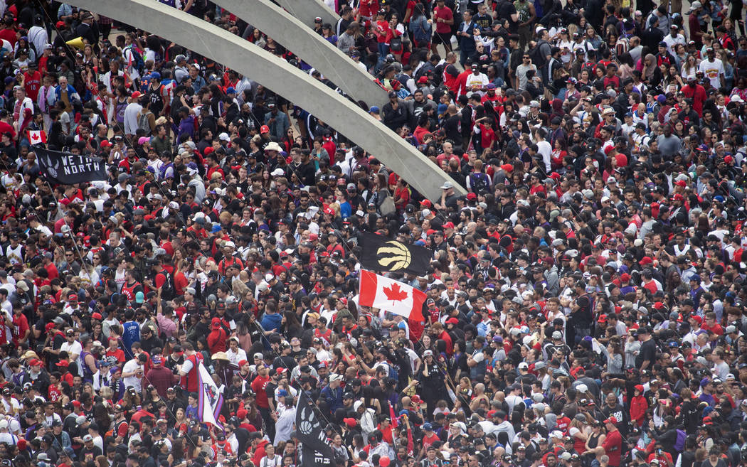 Fans pack Nathan Phillips Square at City Hall ahead of the 2019 Toronto Raptors NBA basketball ...