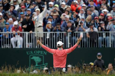 Gary Woodland celebrates after winning the U.S. Open Championship golf tournament Sunday, June ...
