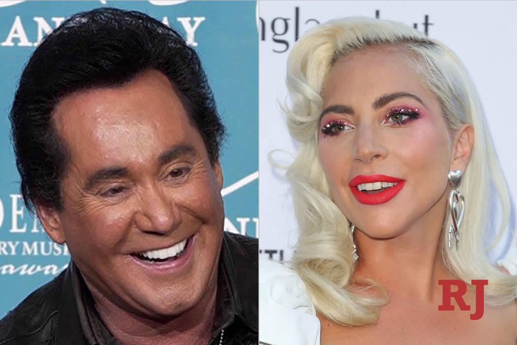 Wayne Newton, left, and Lady Gaga (The Associated Press/Las Vegas Review-Journal)