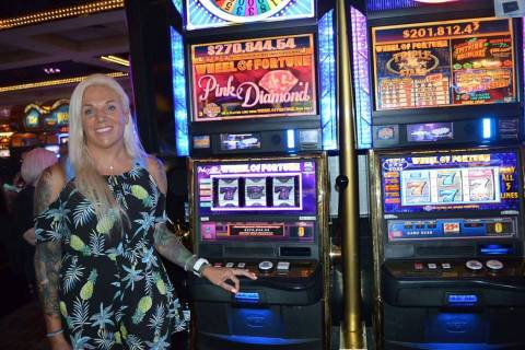 Christa F. of San Tan Valley, Arizona, won $270,847.25 on the 25-cents Wheel of Fortune Pink Di ...