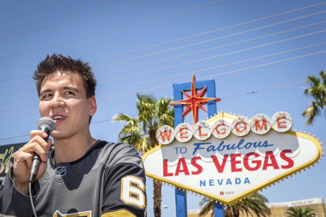 """""""Jeopardy!"""" sensation James Holzhauer speaks after being presented with a key to the Las Vegas ..."""