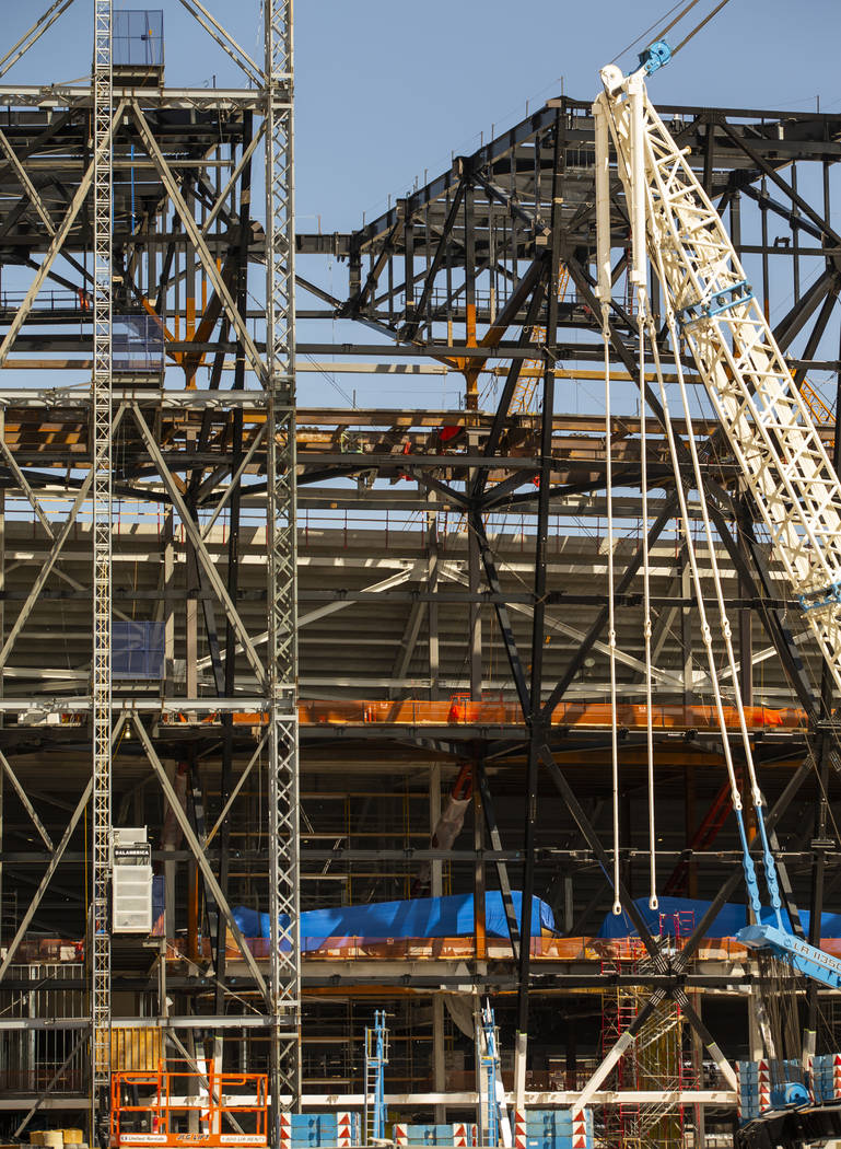 Empty spot atop Raiders Stadium where one of the 65-ton steel canopy trusses was installed and ...