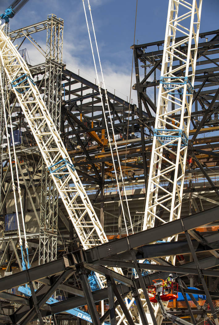 Am empty spot atop Raiders Stadium and one below where one of the 65-ton steel canopy trusses w ...