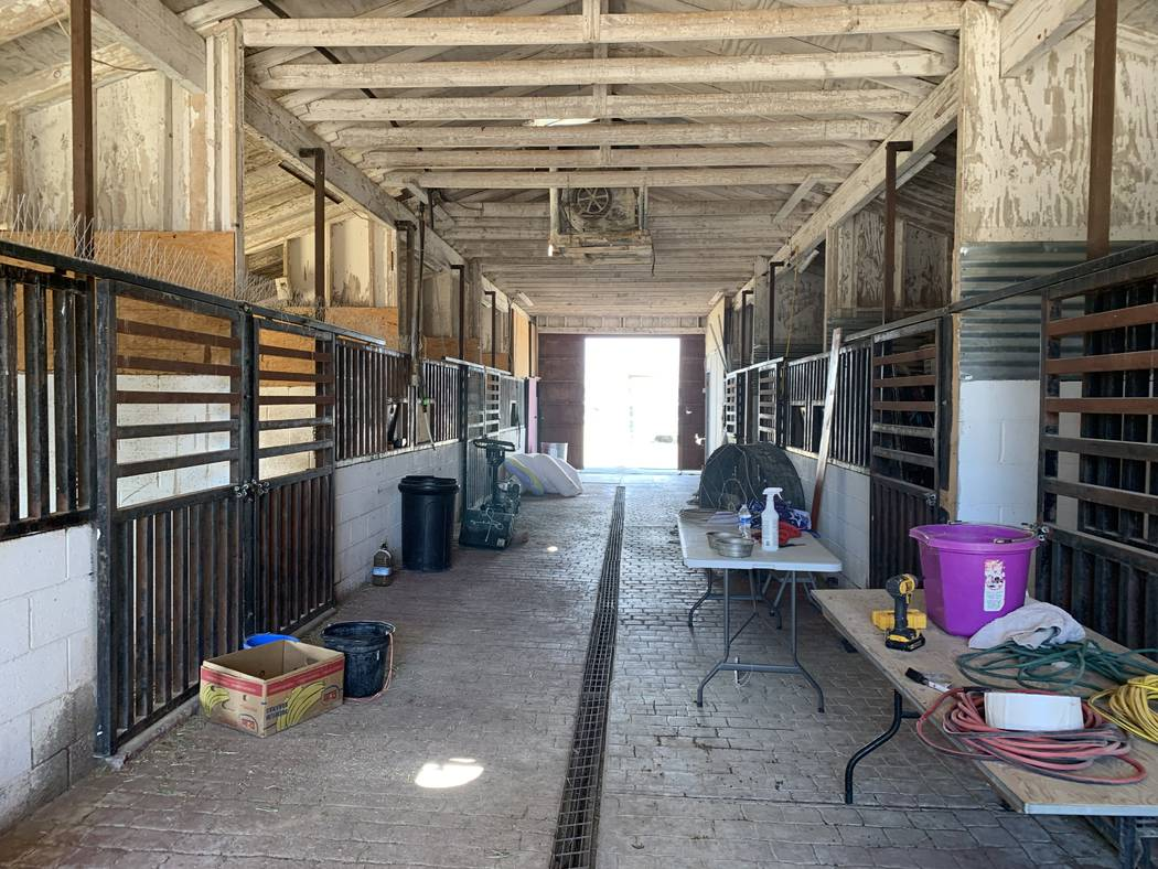 Stalls that sit toward the end of the Horses4Heroes property house goats and rabbits. Sometimes ...