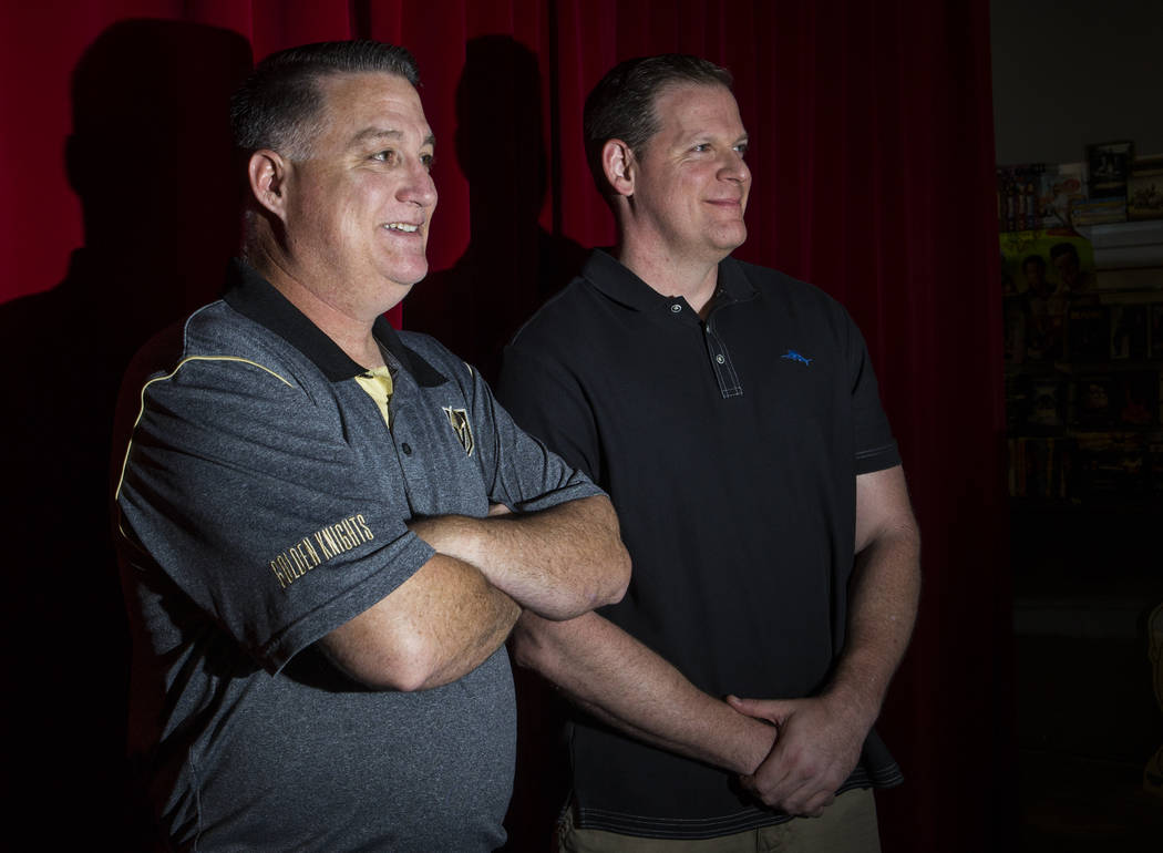 Author and Las Vegas police officer Bradley Nickell, left, and filmmaker and former Las Vegas p ...